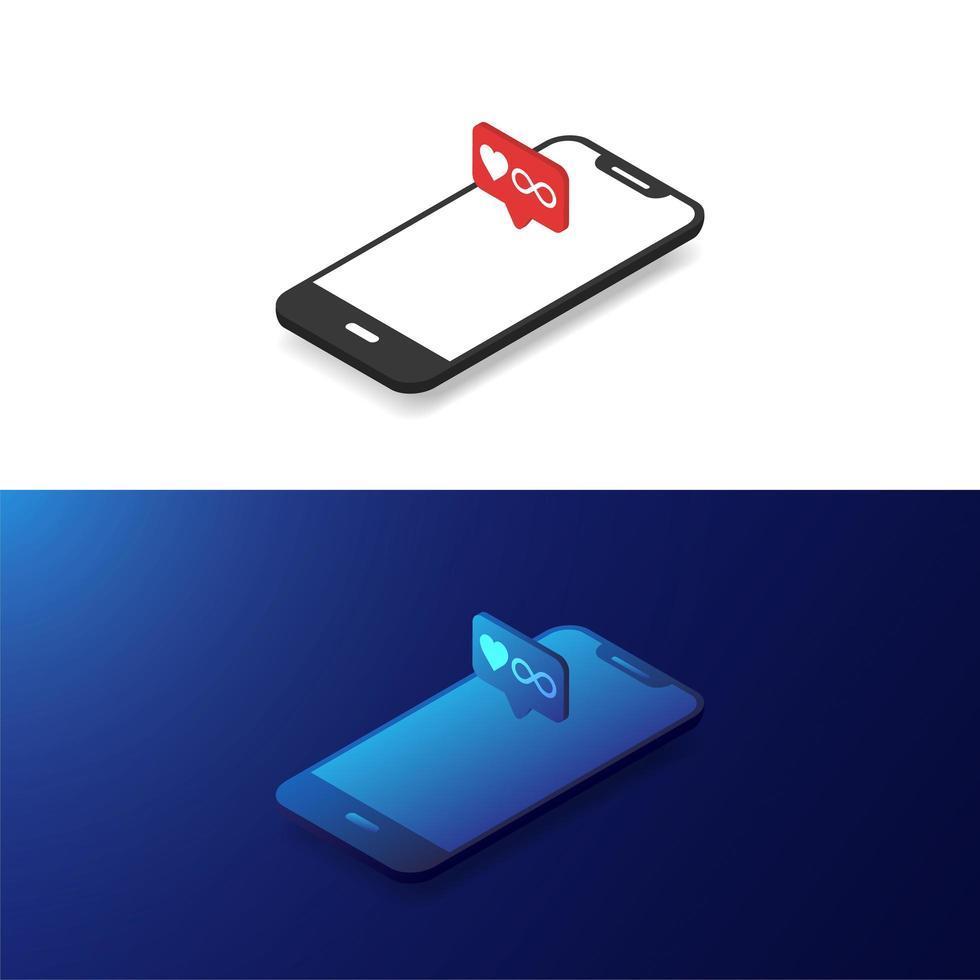 smartphone infinity love vettore