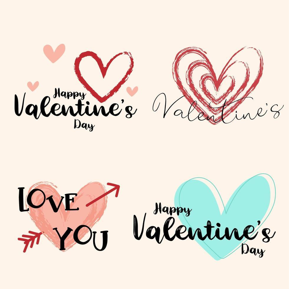 disegno di San Valentino disegnato a mano con cuori vettore