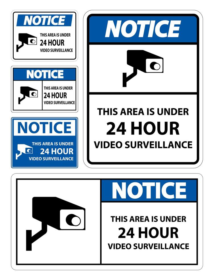 set di etichette di avvertimento di videosorveglianza vettore