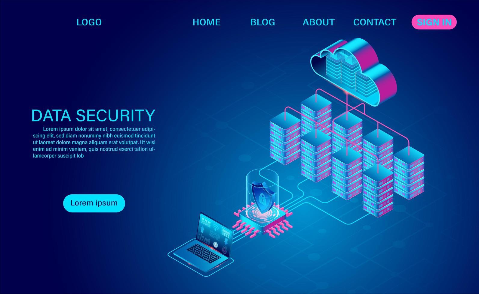 sicurezza dei dati nel concetto cloud vettore