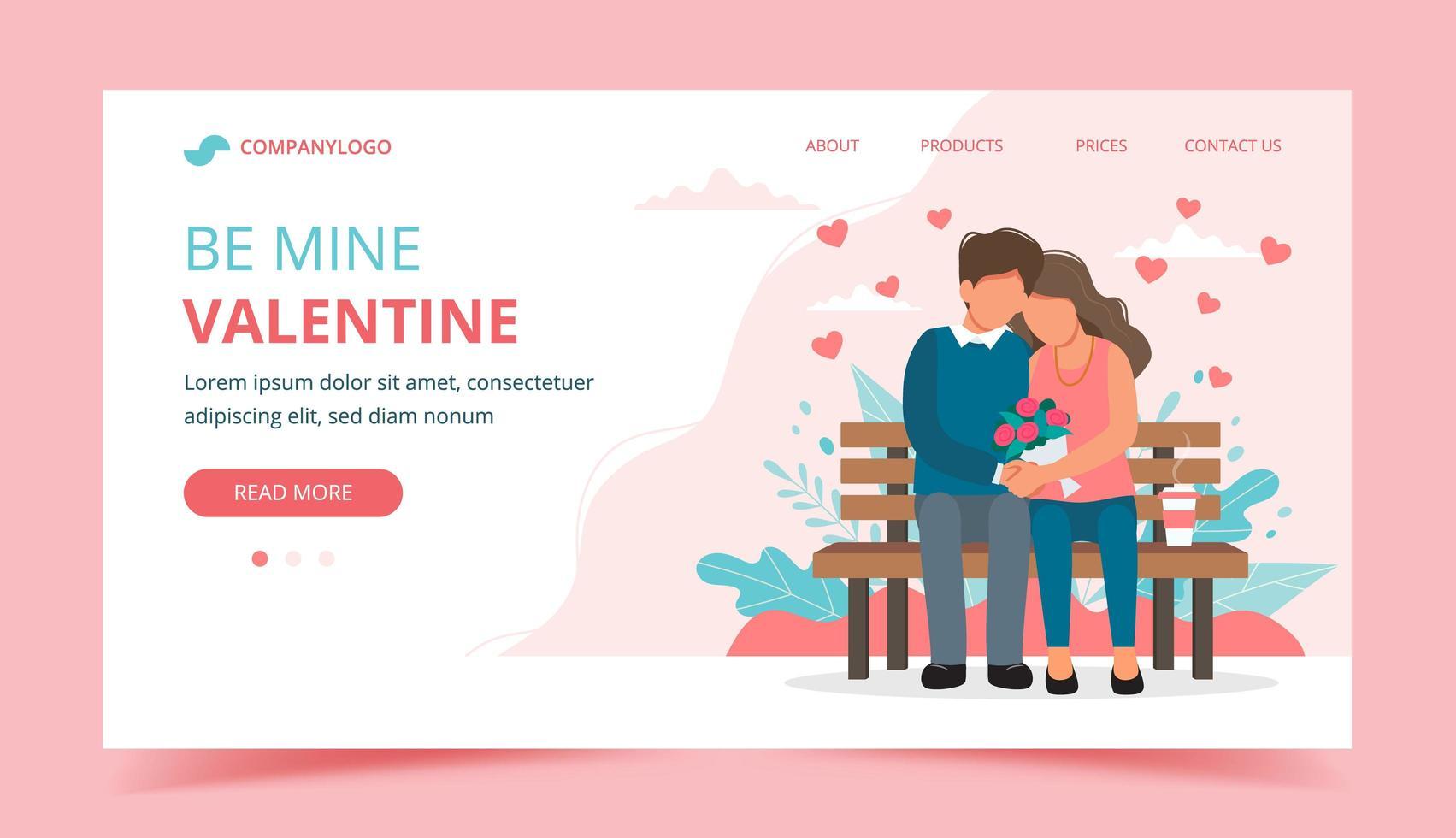 landing page di San Valentino con coppia sulla panchina vettore