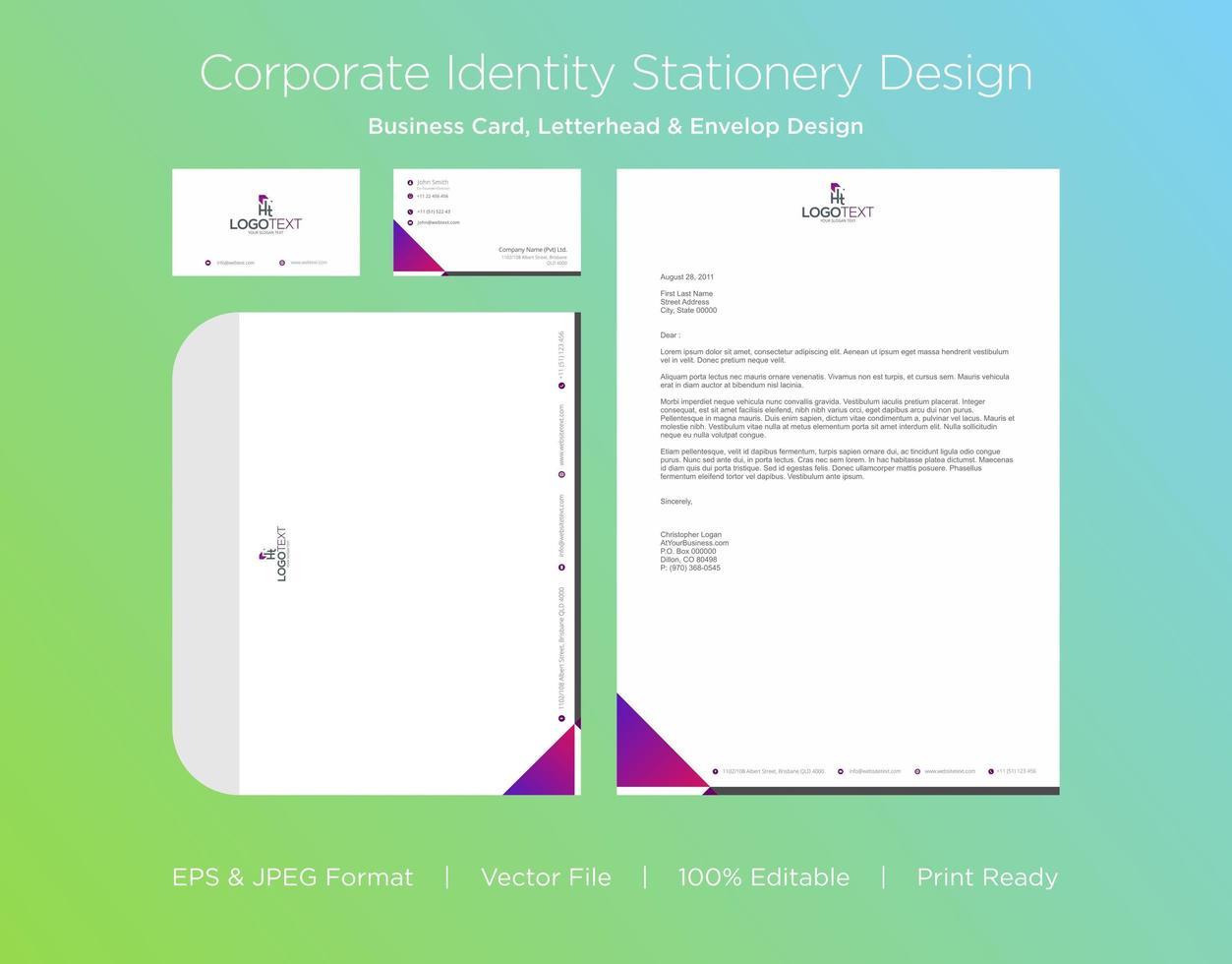 set di identità aziendale angolo triangolo sfumato vettore