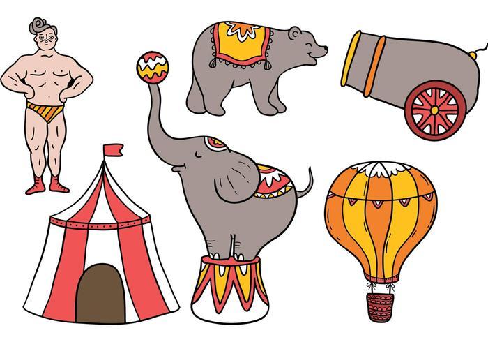 Elementi Vintage Circus gratuiti vettore
