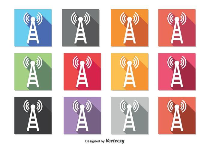 Icone della torre del telefono cellulare vettore