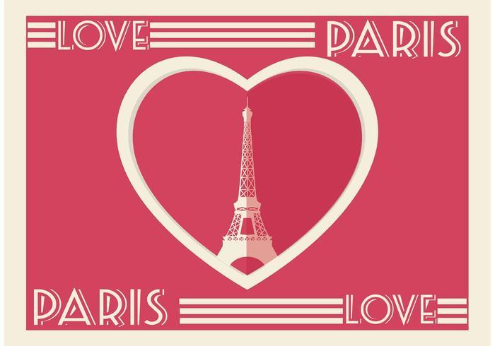 carta di cuore di Parigi vettore