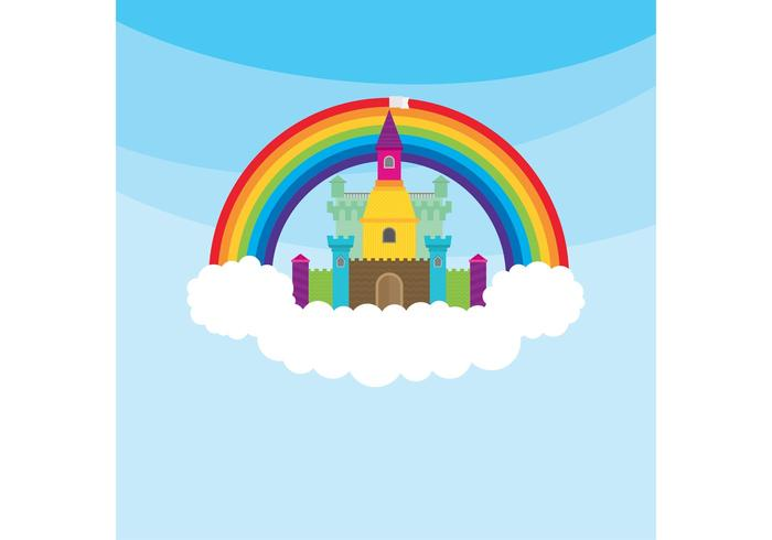 Princess Castle & Rainbow vettore