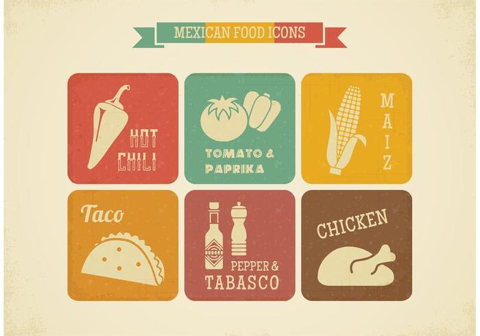 Icone di vettore di cibo messicano retrò