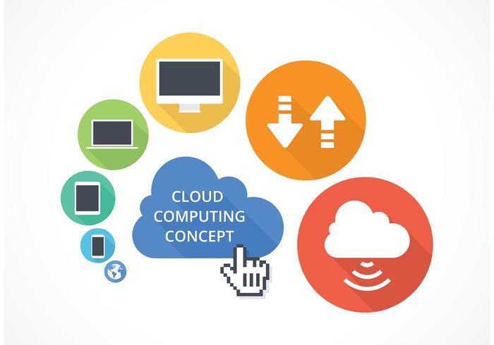 Concetto di cloud computing vettoriale