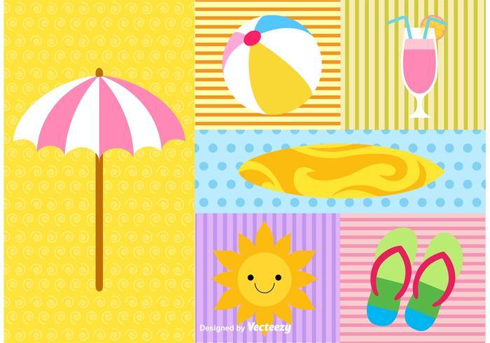 Elementi estate e spiaggia vettore