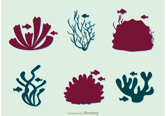 Pacchetto di Silhouette Coral Reef And Fish vettore