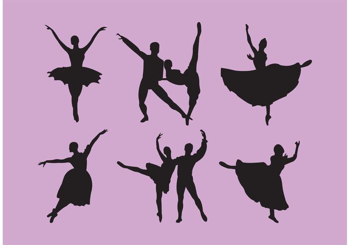 Set di schiaccianoci Ballet Dancer Silhouettes vettore