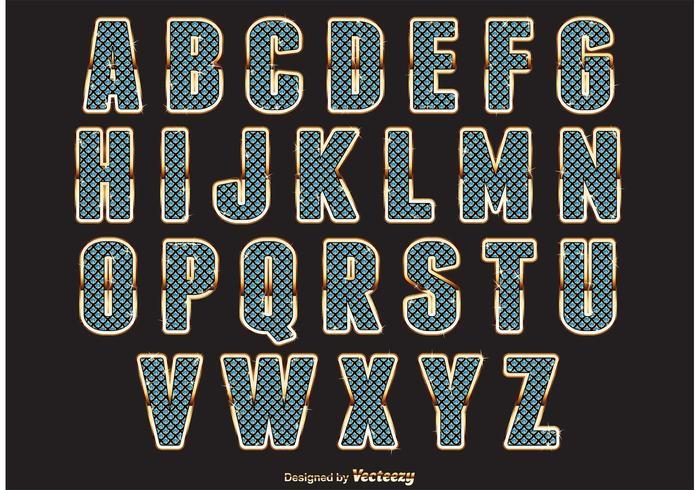 Alfabeto stile diamante vettore