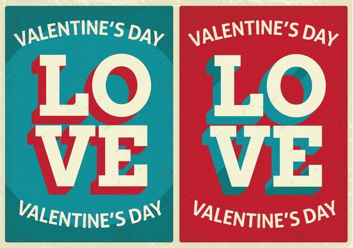 Carte di San Valentino carino stile retrò vettore