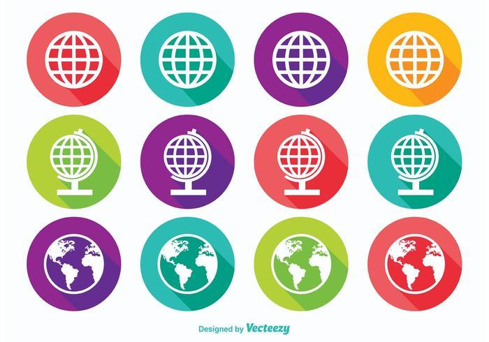 Icone del globo della terra lunga ombra vettore