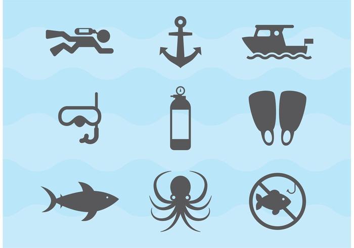 Icone di vettore di immersioni e immersioni