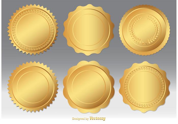 Set vettoriale di sigillo d'oro