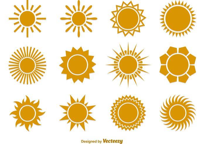 Icone piane di vettore di sole estivo