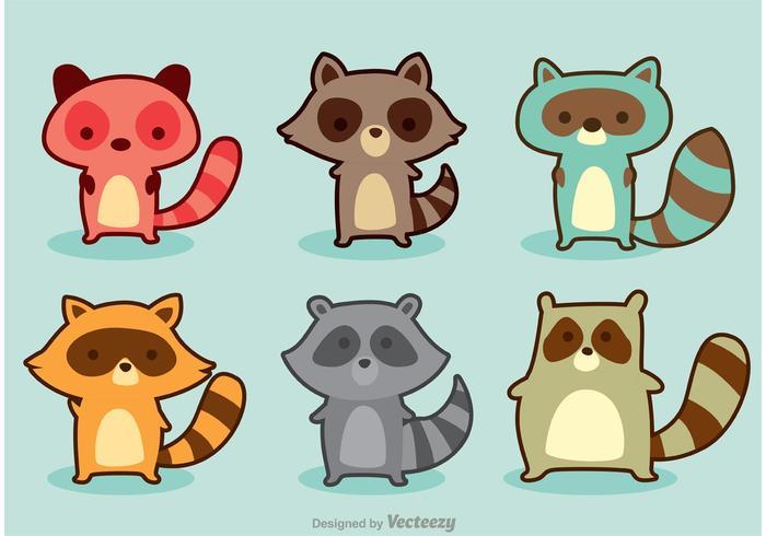 Variazione Raccoon Cartoon Vector
