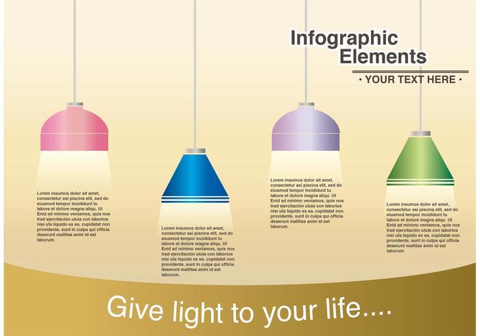 Lampadario moderno luminoso Infographic di vettore