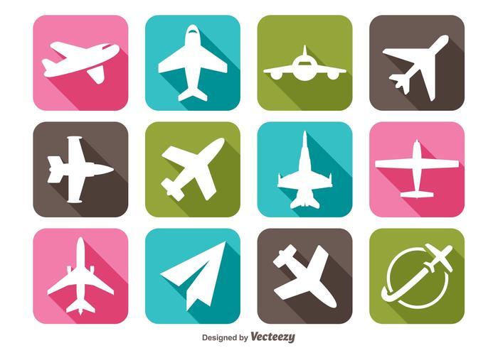 Icone dell'aeroplano di lunga ombra vettore
