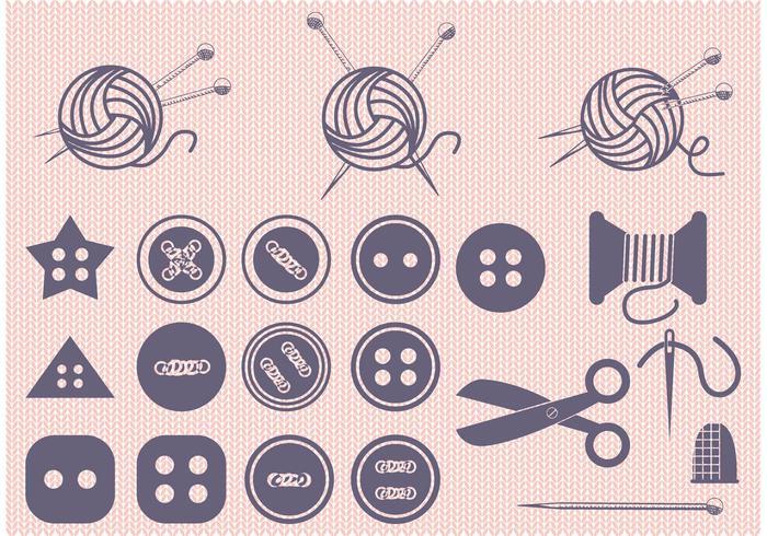 Set di palla di filo e vettori per cucire