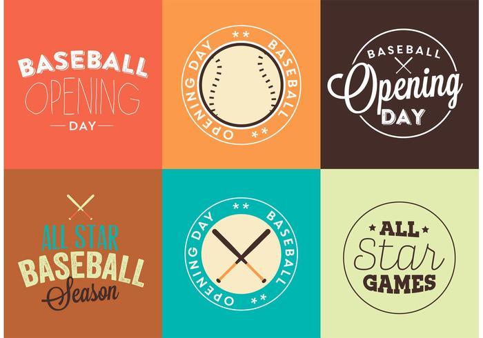 Insieme di vettore di logo di giorno di apertura di baseball