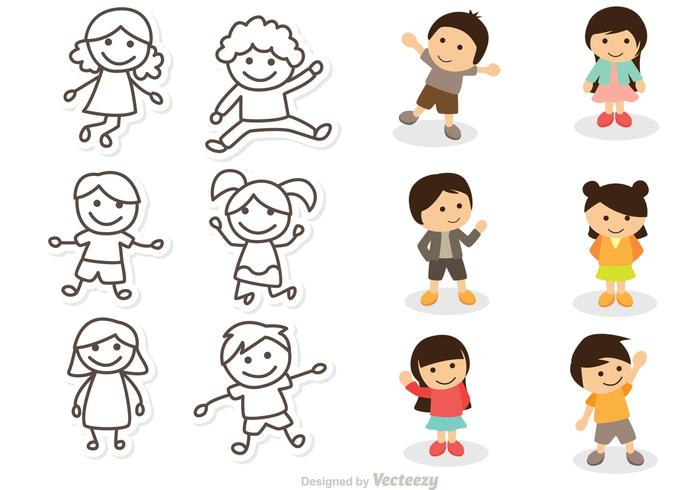 Pacchetto di vettori di illustrazione di bambini