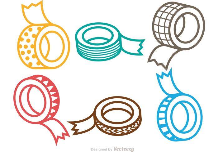 Rotoli di nastri adesivi vettore