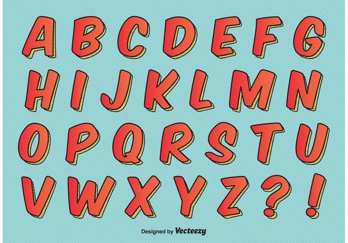 Alfabeto di stile comico vettore