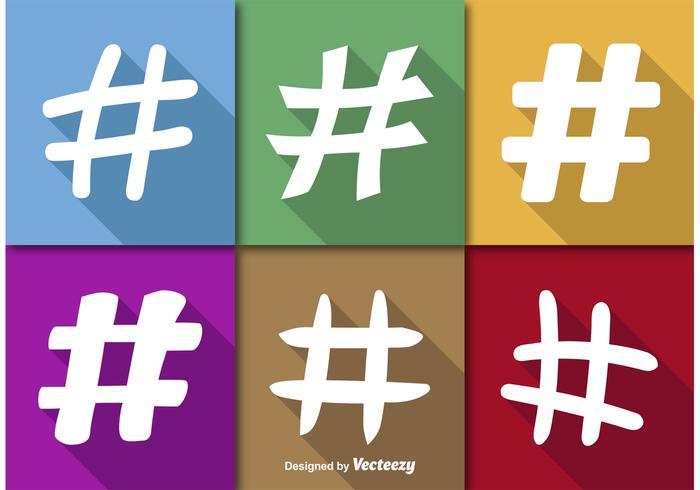 Icone di vettore piatto hashtags