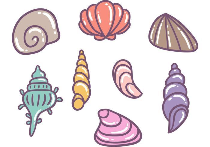 Vettori colorati di conchiglie di perle