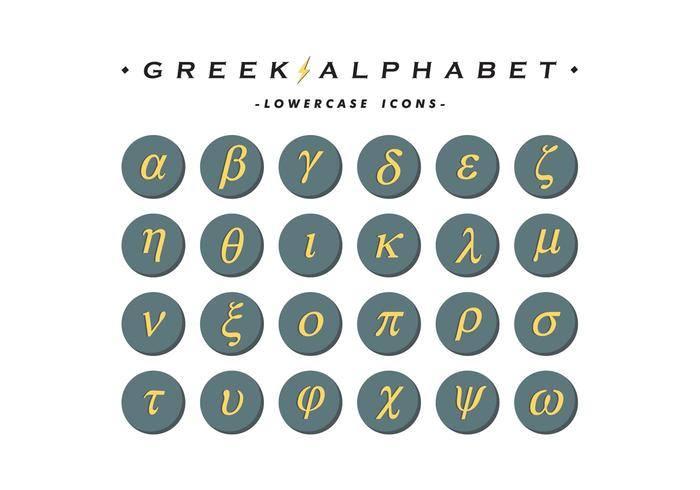 Il vettore delle icone di alfabeto greco libera