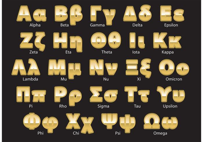 Vettore di alfabeto greco dorato