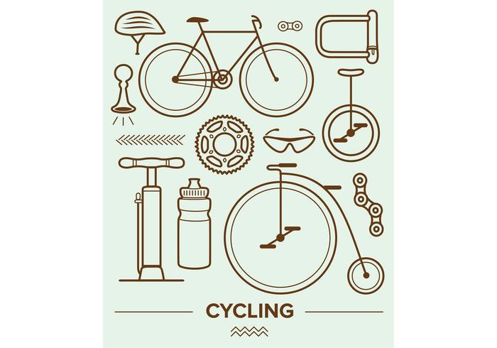 Icone vettoriali in bicicletta