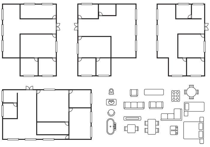 Vettori di piano di architettura