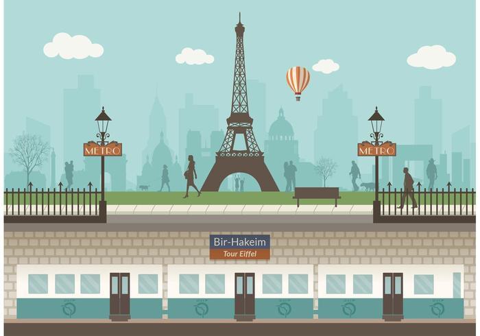 Metropolitana di Parigi con il vettore di paesaggio urbano