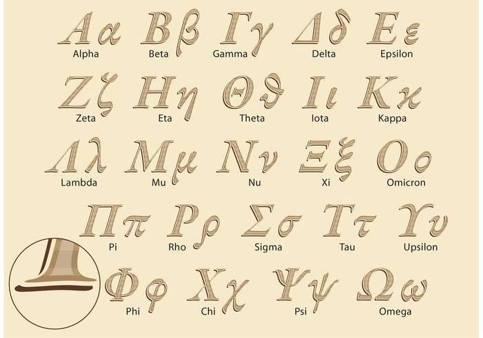 Pacchetto di vettore di alfabeto greco classico