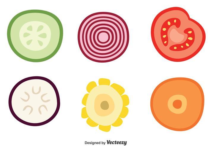 Fetta di verdure vettoriale icone