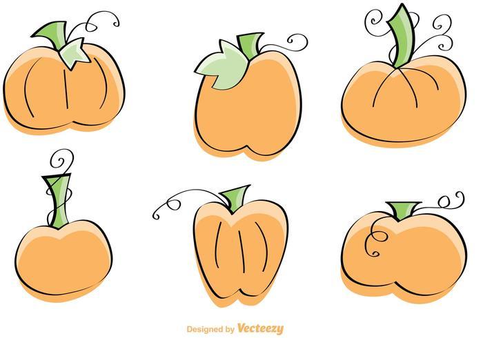 Illustrazioni disegnate a mano di vettore della zucca