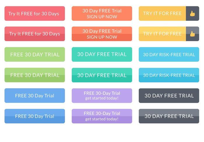 Pulsanti vettoriali di prova gratuiti per 30 giorni