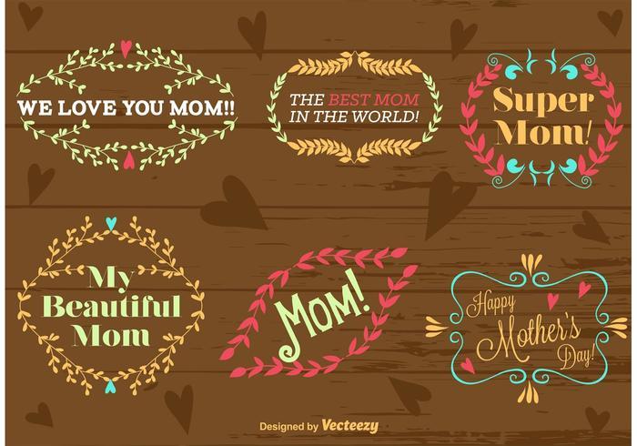 Felice giorno della mamma tipo ornamenti vettore