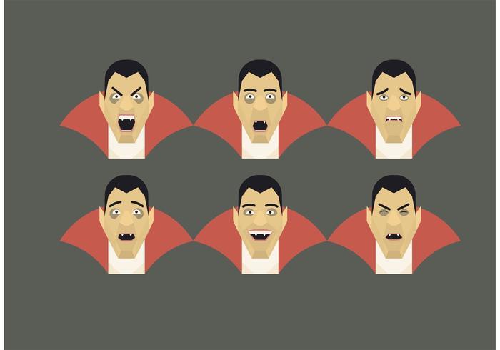 Insieme di emozioni di vettore Dracula