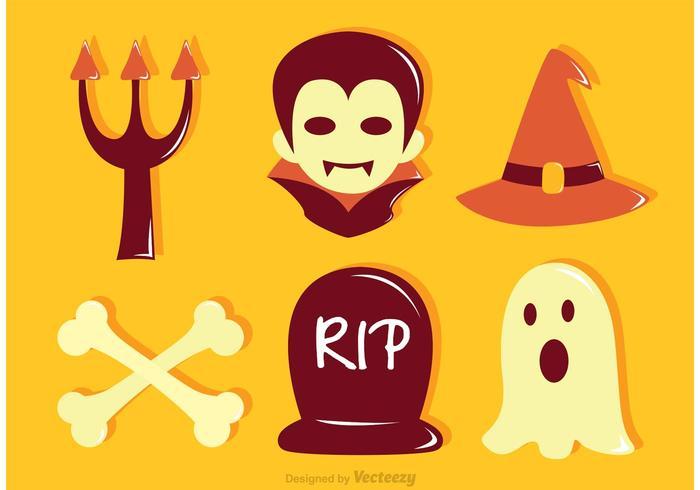 Icone piane di Halloween di vettore
