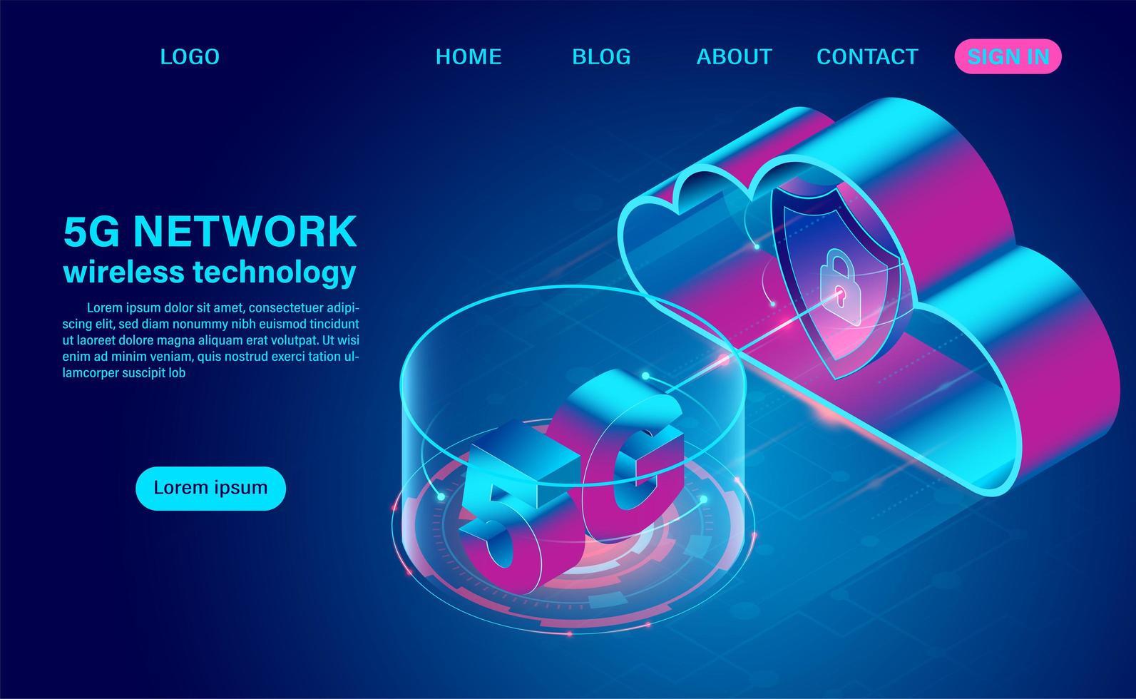 Tecnologia di rete 5g e cloud vettore
