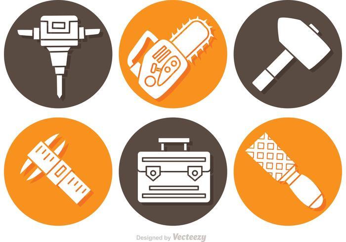 Icone di oggetti e strumenti di costruzione vettore