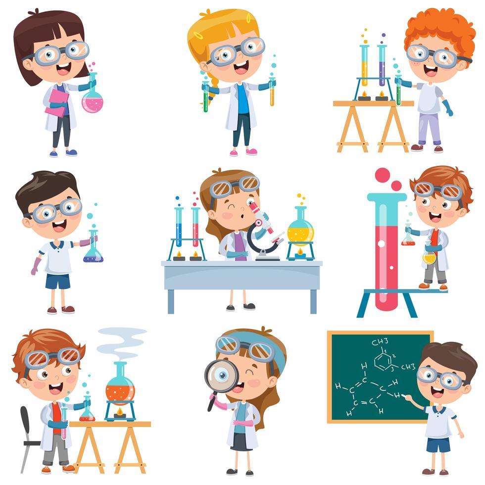 studenti del fumetto che fanno insieme di chimica vettore