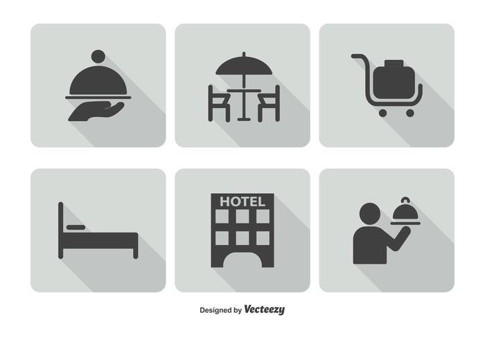Set di icone di servizio alberghiero vettore