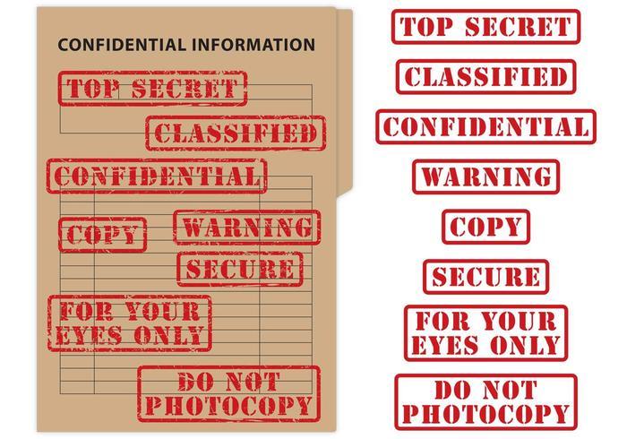 Vettori di francobolli top secret e confidenziali