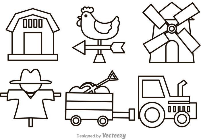 Icone di fattoria vettoriale