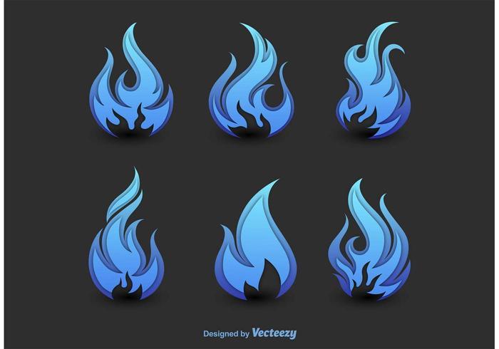 Astratte sagome di fuoco blu vettore